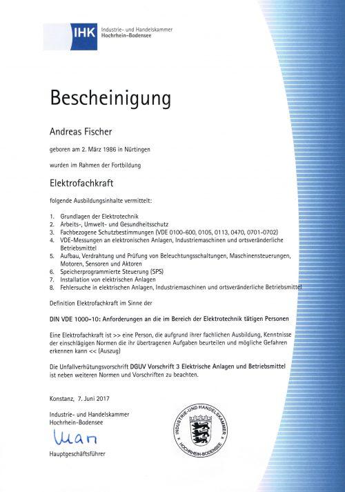 Zertifikat Elektrofachkraft