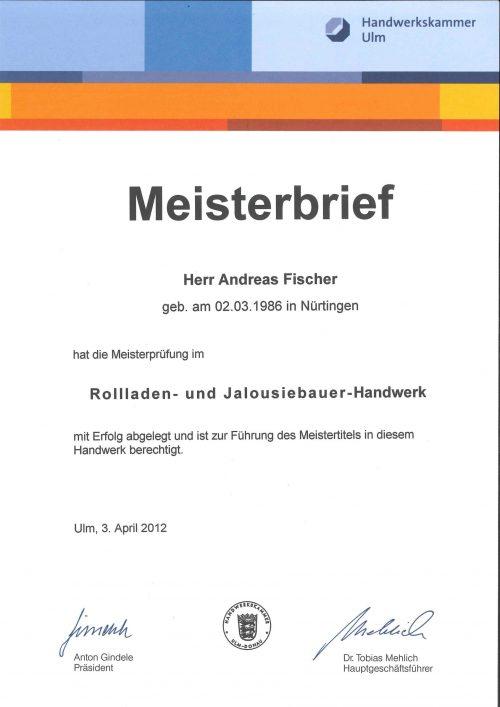 Urkunde Meister